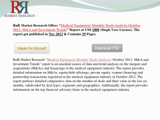 Medical Equipment Monthly Deals Analysis in M&A and Investme
