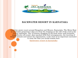Backwater resort in karnataka