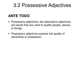 ANTE TODO Possessive adjectives, like descriptive adjectives, are words that are used to qualify people, places, or thin