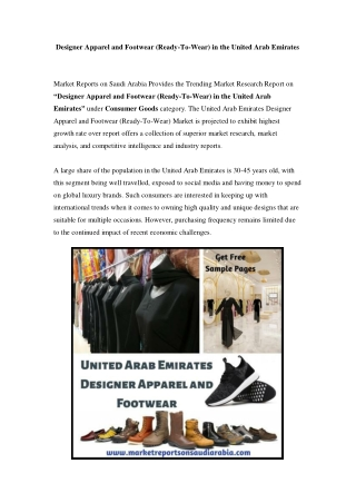 United Arab Emirates Designer Apparel and Footwear Market: Growth, Opportunity and Forecast Till 2023