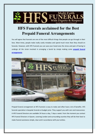 HFS Funerals acclaimed for the Best Prepaid Funeral Arrangements