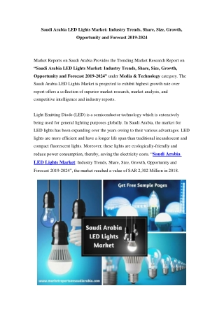 Saudi Arabia LED Lights Market: Industry Trends, Opportunity and Forecast Till 2024