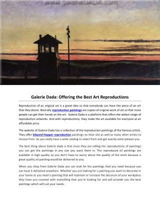 Galerie Dada: Offering the Best Art Reproductions