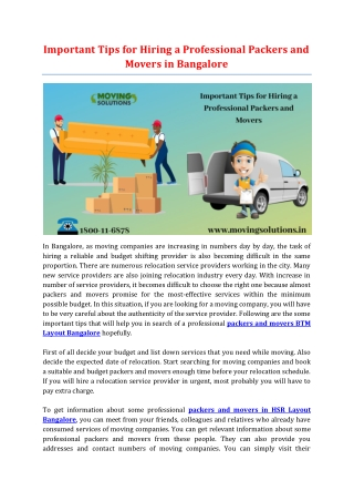 Important Tips for Hiring a Professional Packers and Movers in Bangalore