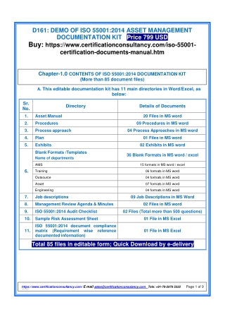 Ready-to-use ISO 55001 Documents for Asset Management Certification
