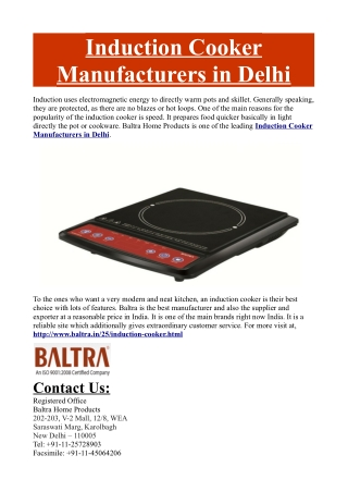 Induction Cooker Manufacturers in Delhi