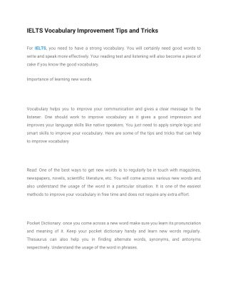 IELTS Vocabulary Improvement Tips and Tricks