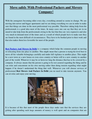 Move safely With Professional Packers and Movers Company!