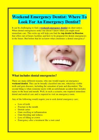 Weekend Emergency Dentist Where To Look For An Emergency Dentist