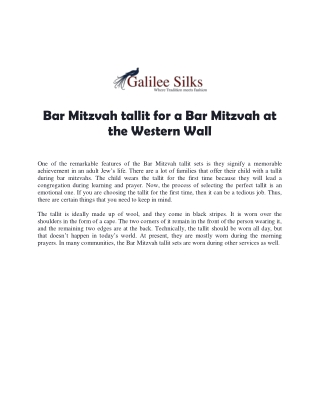 Bar Mitzvah tallit for a Bar Mitzvah at the Western Wall
