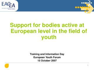 Support for bodies active at European level in the field of youth Training  and  Information Day European Youth Forum 15
