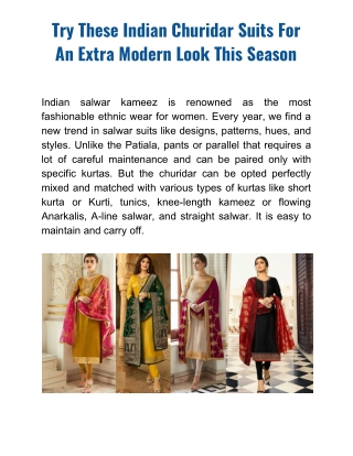 Indian Churidar Suits for an Extra Modern Look