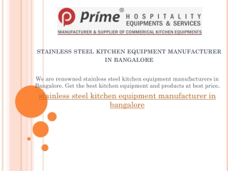 stainless steel kitchen equipment manufacturer in bangalore