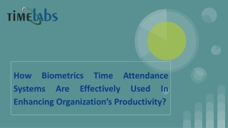 How Biometrics Systems are Effectively Used In Organization's Productivity?