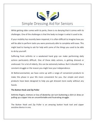 Simple Dressing Aid for Seniors
