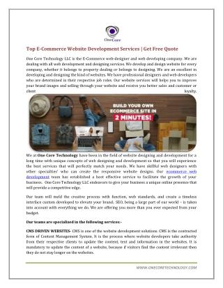 Top E-Commerce Web Development Company
