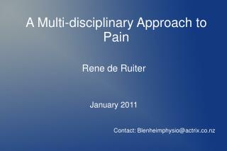 A Multi-disciplinary Approach to Pain
