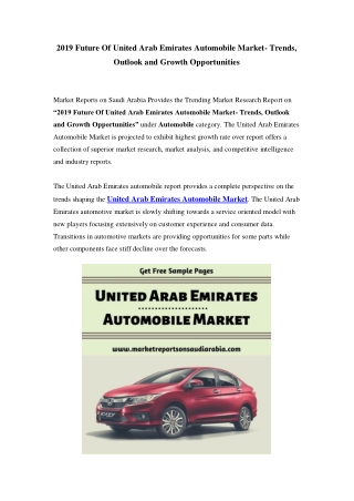 United Arab Emirates Automobile Market: Growth, Opportunity and Forecast Till 2025
