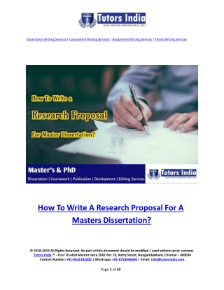A Guide to Write a Research Proposal for Masters Dissertation- TutorsIndia.com for my Research Proposal Help
