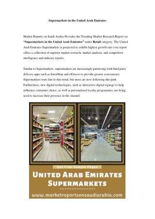 United Arab Emirates Supermarkets: Growth, Opportunity and Forecast Till 2023