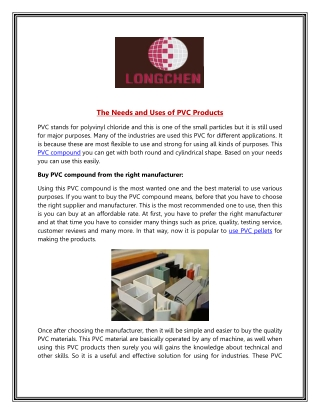 The Needs and Uses of PVC Products