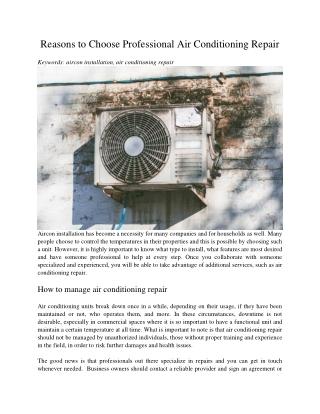 Reasons to Choose Professional Air Conditioning Repair