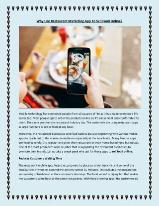 How Restaurant Marketing App Help in Selling Food Online?