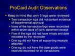 ProCard Audit Observations