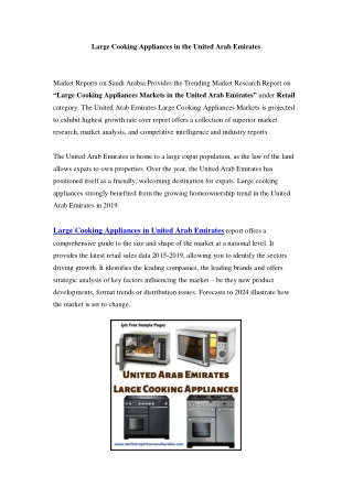 United Arab Emirates Large Cooking Appliances Markets: Growth, Opportunity and Forecast Till 2024