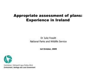 Appropriate assessment of plans: Experience in Ireland