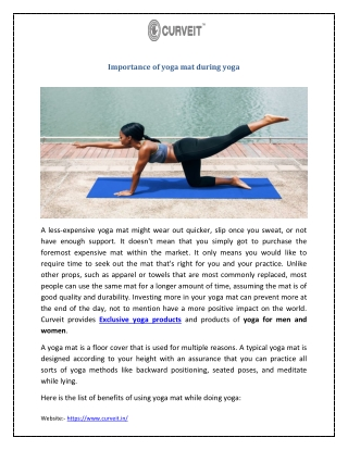 Importance of yoga mat during yoga