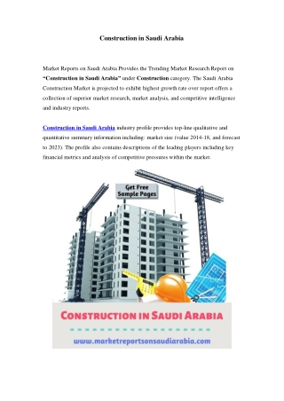 Saudi Arabia Construction Market: Growth, Opportunity and Forecast Till 2023