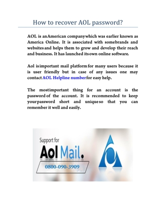 How to recover AOL password?