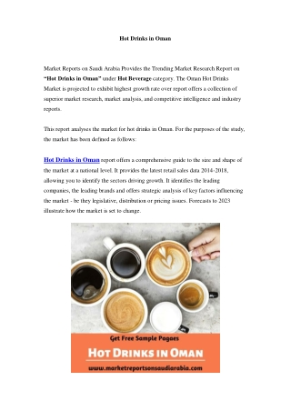 Hot Drinks Market in Oman - Outlook to 2024