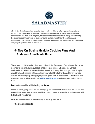 Tips On Buying Healthy Cooking Pans And Stainless Steel Made Pans