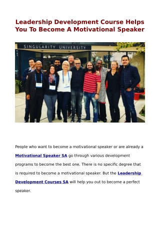 Leadership Development Course Helps You To Become A Motivational Speaker