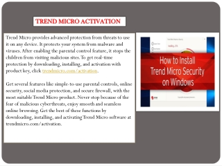 Trend Micro Activation | Download and Installation - trendmicro.com/activation