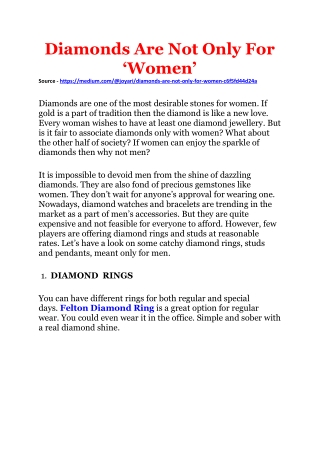 Diamonds Are Not Only For'Women'