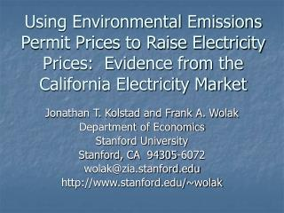 Using Environmental Emissions Permit Prices to Raise Electricity Prices:  Evidence from the California Electricity Marke