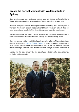 Create the Perfect Moment with Wedding Suits in Sydney