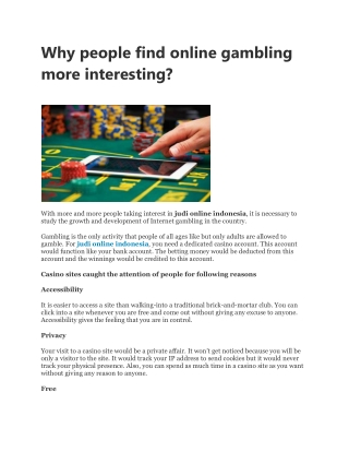 Why people find online gambling more interesting?
