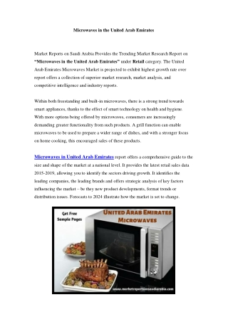 United Arab Emirates Microwaves Market: Industry Trends, Opportunity and Forecast Till 2024