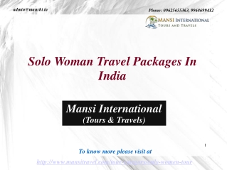 Solo Woman Travel Packages In India