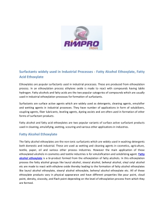 https://www.rimpro-india.com/articles1/surfactants-widely-used-in-industrial-processes-fatty-alcohol-ethoxylate,-fatty-a