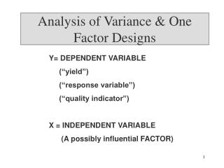 Analysis of Variance & One Factor Designs