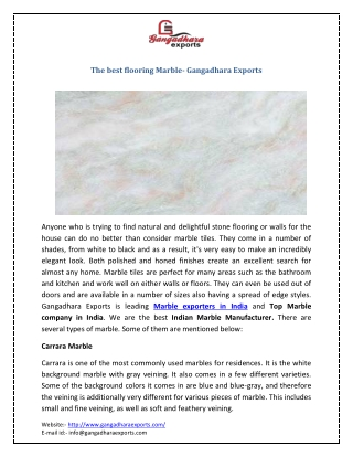 The best flooring Marble- Gangadhara Exports