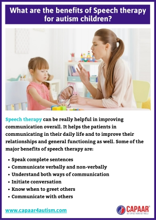 What are the benefits of Speech Therapy in Bangalore for autism children?   CAPAAR
