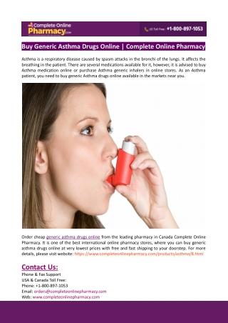 Buy Generic Asthma Drugs Online | Complete Online Pharmacy