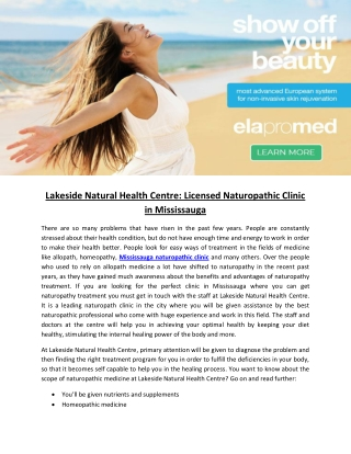 Lakeside Natural Health Centre: Licensed Naturopathic Clinic in Mississauga