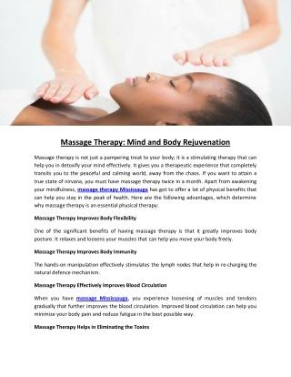 Massage Therapy: Mind and Body Rejuvenation